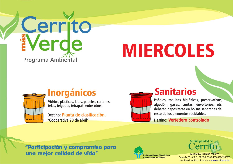 Hoy separamos residuos: inorgánicos y sanitarios