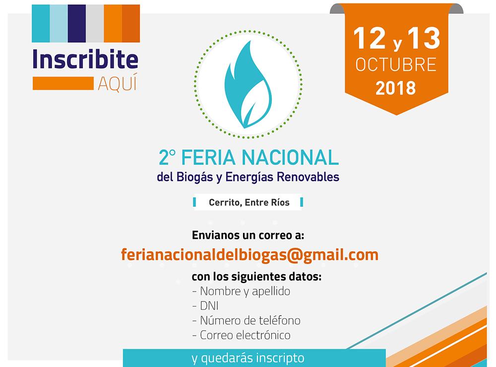 Inscripcion Feria Nacional del Biogas y Energias Renovables